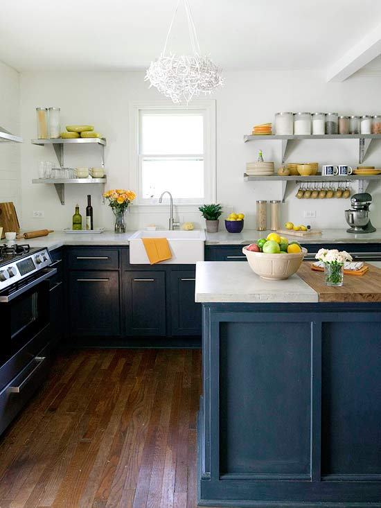 again the Navy wins in this Modern country kitchen with Navy cabinets