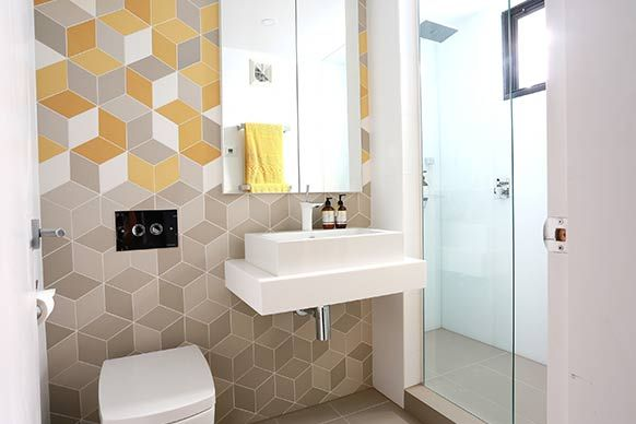 Geometric 3d tiles elements at home for Bathroom ideas 3d